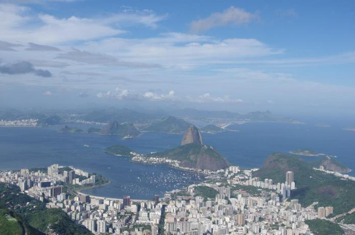 View from Corcavado over Sugarloaf Mountain
