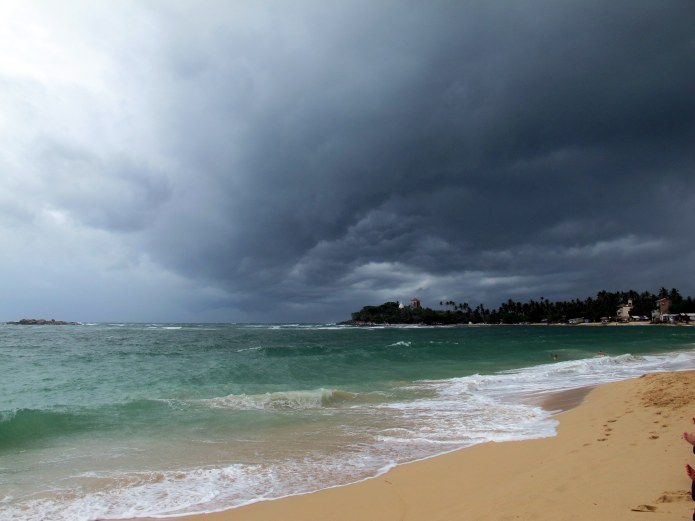 A storm's a brewing on Unawatuna before the break water