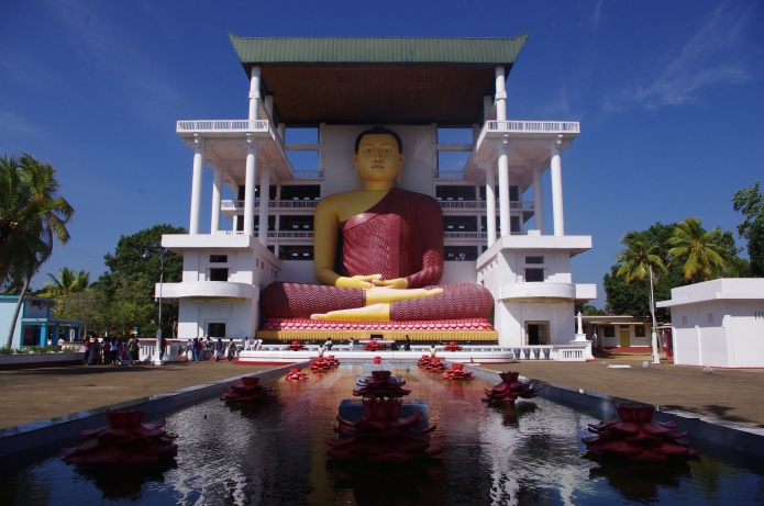 The huge statue of Buddha at the temple in Matara