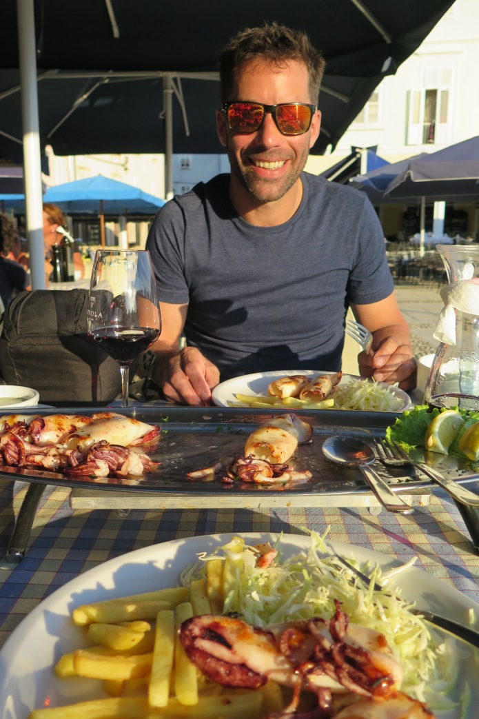 Delicious grilled squid for dinner at Riva