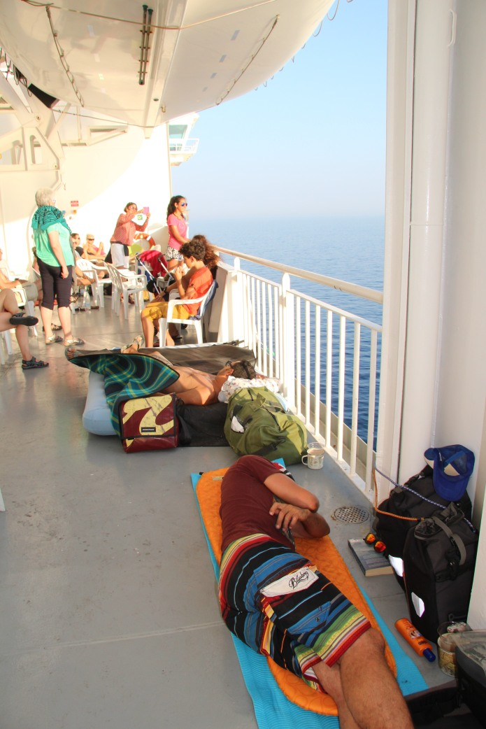 New sleeping spot on the ferry to Patras