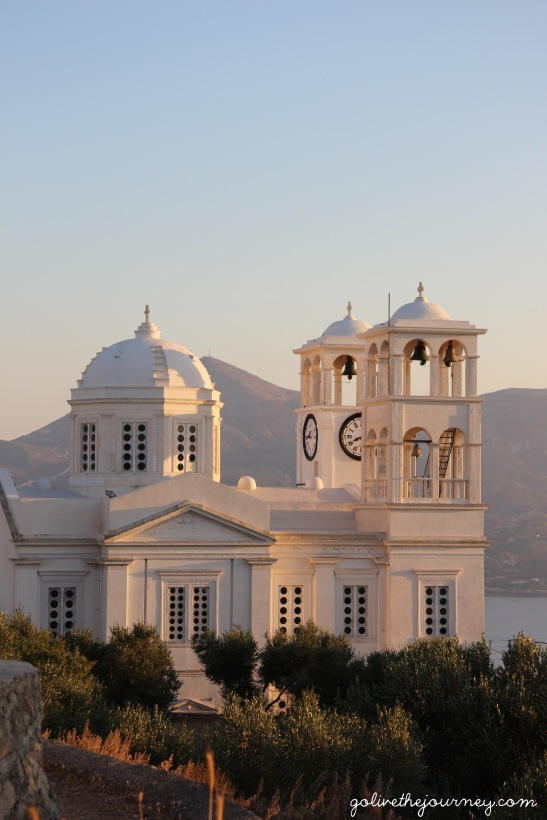 Trypiti's stunning church from our spot at Eiriana Suites
